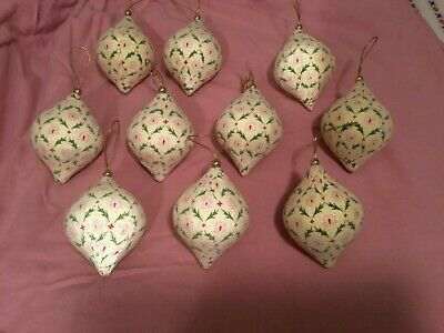 """GUC, MARTHA STEWART COLLECTION, 5"""" Decoupaged Ornaments, Lot of 10, Acceptable"""
