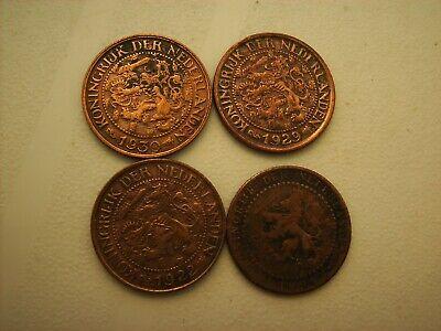 1 cent cuivre x 4 pays bas 1904-1922-1929-1930