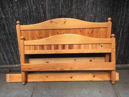 Queen Size timber bed head and bed end with side rails