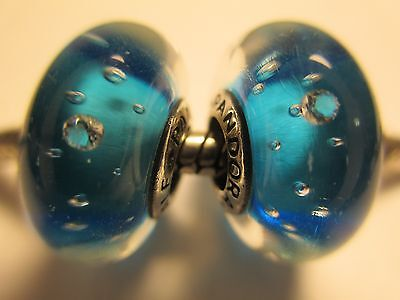 Set 2 Authentic Pandora Silver 925Ale Blue Effervescence Clear CZ Bead Charm New