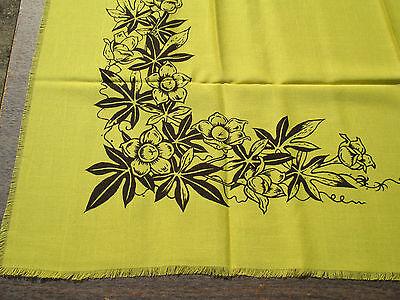 Tablecloth Napkins Hawaiian Block Print Set of 11 Yellow Brown Orchid Vintage