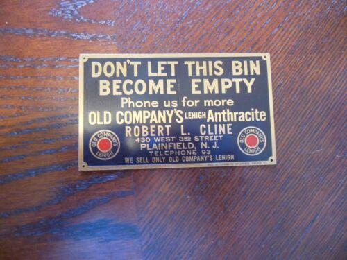 antique brass coal sign