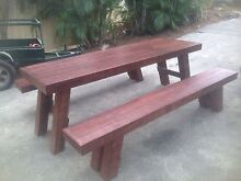 ***** New Indoor outdoor rustic table and bench seats foldable legs Carrara Gold Coast City Preview