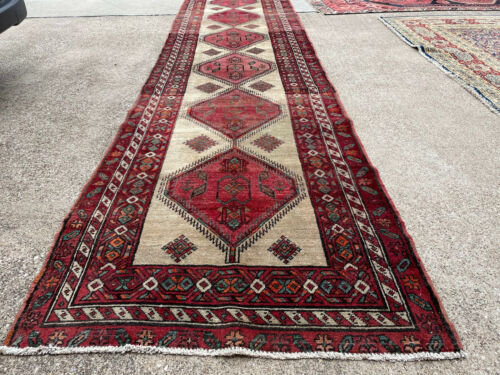 4x14 VINTAGE HANDMADE WOOL RUNNER RUG HAND-KNOTTED antique old caucasian 3x14 ft
