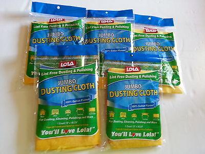 5 NIP Lola Jumbo Lint Free Polishing Dusting Cloth 100% Cotton Flannel 13