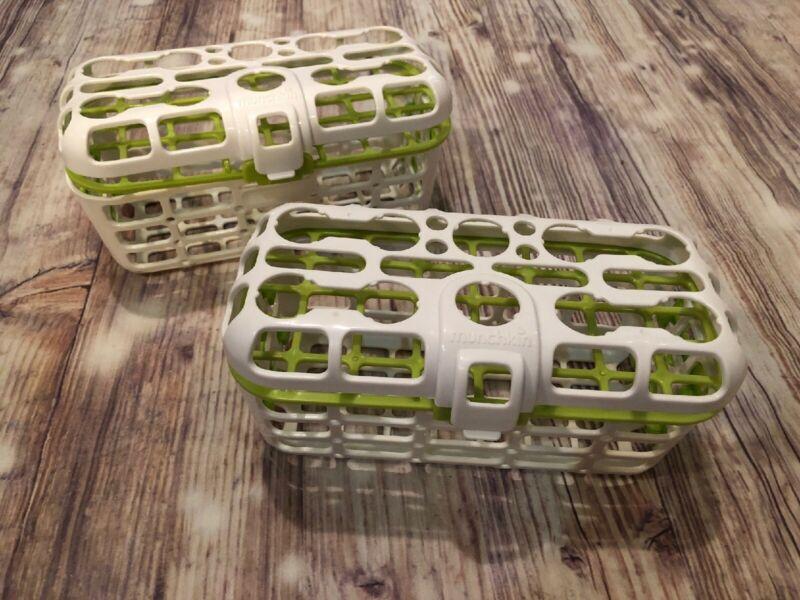 2 Munchkin Deluxe Dishwasher Basket Utensil Bin Straw Cleaning Rack Baby Bottles