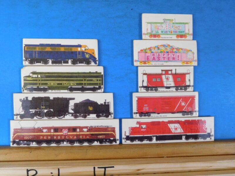 Foam Locomotive Magnets Lot of 9 C`NJ New Haven PRR Caboose Boxcar