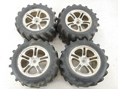 Traxxas Maxx Chevron Monster Truck Tires on 14mm Hex Wheels Used (One bad hex)