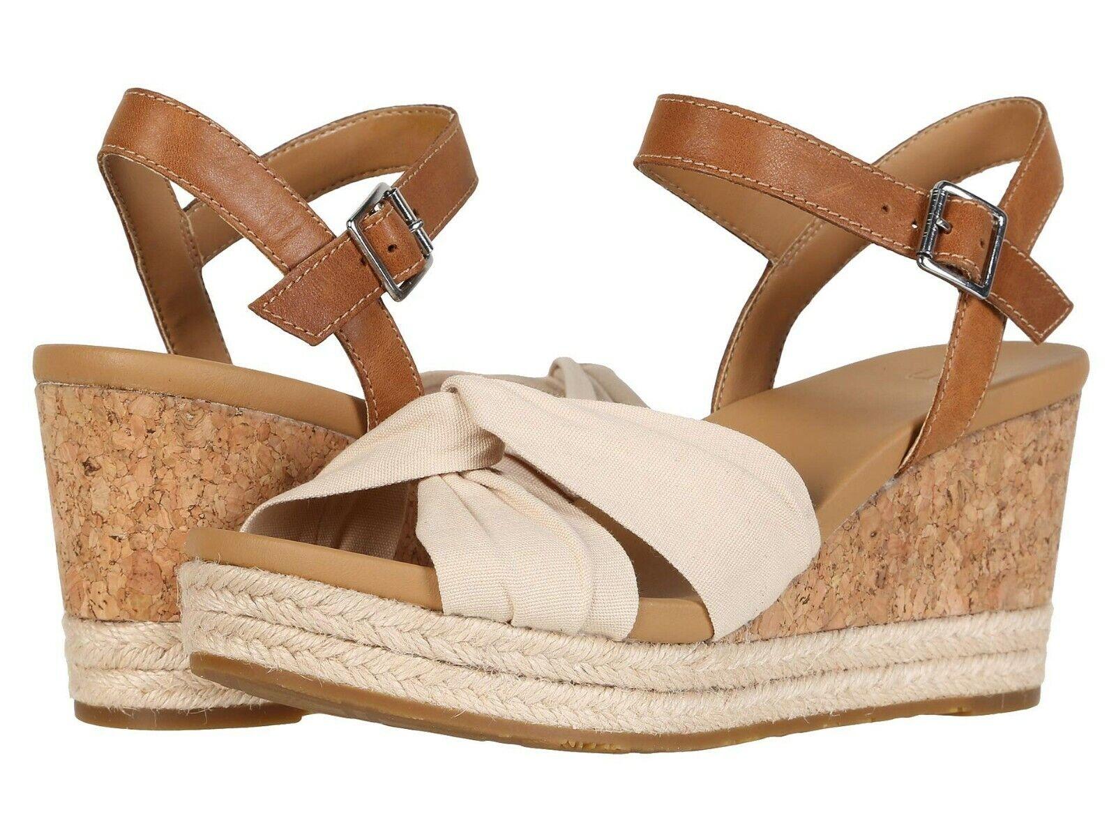 Women's Shoes UGG JOSLYN Leather & Canvas Platform Wedge San