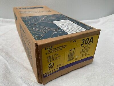 Square D Hu361 30 Amp 600 Volt 3 Pole Disconnect F Series- New