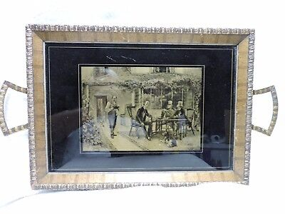 Vintage Glass and Wood English Gents Picture Serving Tray