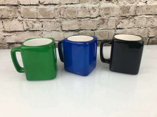 Square Mugs Red Green Black Handblown Lot Of 3 Coffee Tea Vintage Bright  - $63.24