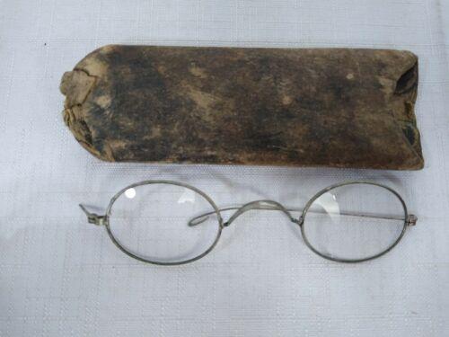 Antique Alumnica Eyeglasses with pressed paper Case Wire Rimmed framed vintage