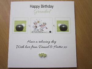 Personalised Handmade Lawn Bowls Birthday Card - Grandad Grandpa Nanny Dad etc