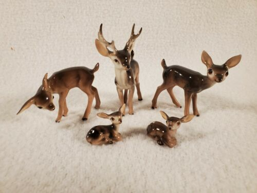 (5) Vintage Hagen Renaker Vintage Miniature Deer Buck Doe Babies Family