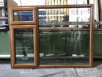 Used UPVC Window, Golden Oak On White, 1795mm Wide By 1345mm Height (W4712)