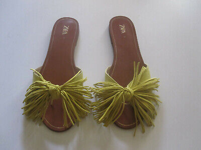 Zara Suede Flat Sandals with Fringe Bow Mustard Yellow Size 37(US 6.5)
