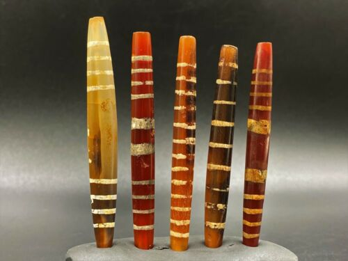 Old Antique Etch carnelian beads