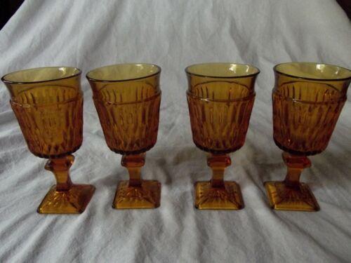 "(4) Wine Glasses Goblets 5-1/2"" Indiana Glass Amber Mt Vernon vertical wedges"