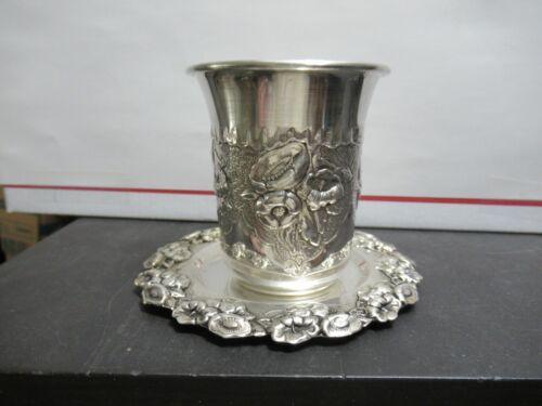 Gorgeous Sterling Kiddush Cup & Plate, Sabbath, Judaica, Flowers & Leafs, MLR