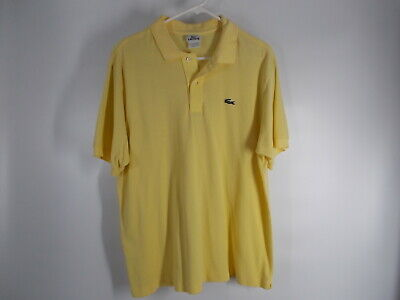 Lacoste Polo Shirt Yellow 100% Cotton Men's Size 6