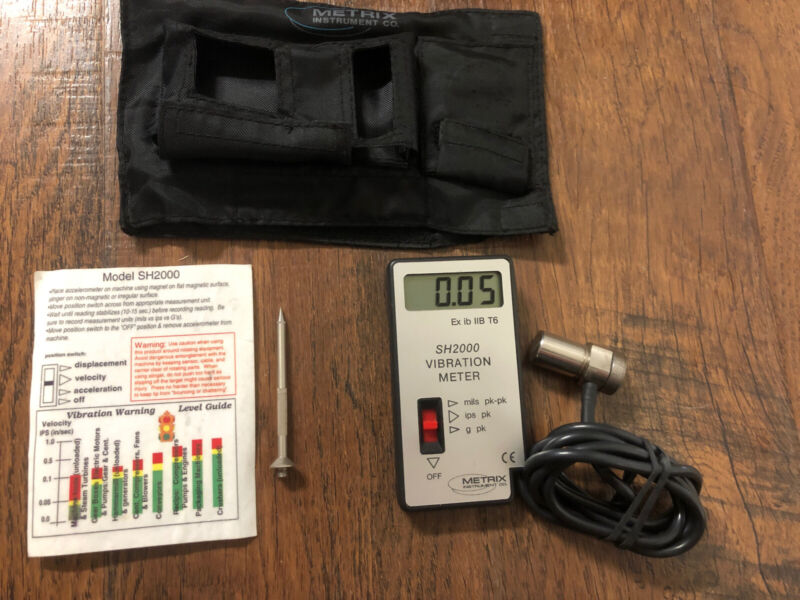 Metrix instrument co SH2000 vibration meter Mils its g Spot Displacement veloc