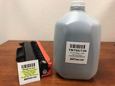 (1,000g) Toner Refill + 1 Toner Cartridge (Chip, Gear) for Brother TN760, TN730 for sale  Rancho Cucamonga