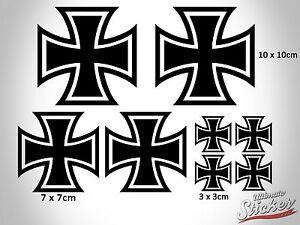 Iron Cross Auto Aufkleber Set Groß Sticker Eisernes Kreuz Rat Look Schwarz|Weiß