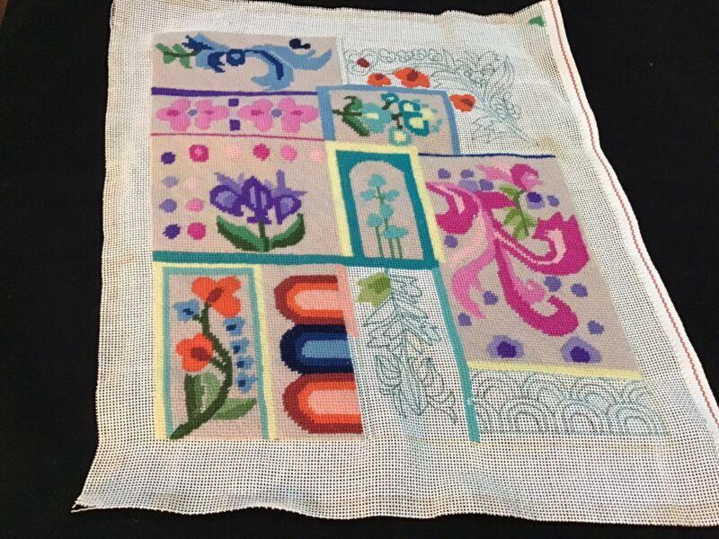 Needlept Unfinished Vintage Flowers Beige Backg Multi Colors 12X13 (314