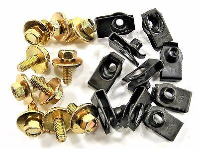 10mm Hex Chrysler Body Bolts /& U-nut Clips M6-1.0 x 35mm Long 20 pcs #145