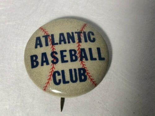 1939 ATLANTIC BASEBALL CLUB Promo Pin Button Book Seller Oil & Gas Refinery