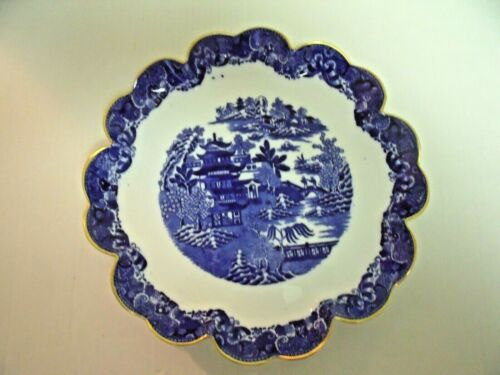 Copeland Blue Willow Ruffled Edge Footed Dish