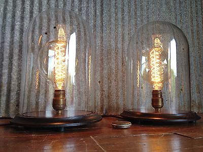 Vintage LARGE Specimen Display Lamp Pair Bell Jar UNIQUE MATCHING PAIR! Edison