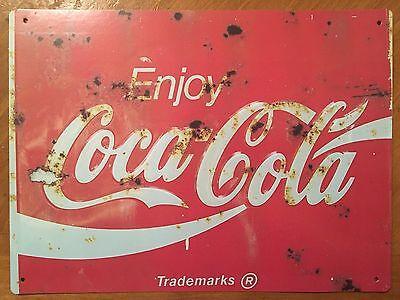 Tin Sign Vintage Coca-Cola Enjoy Rustic