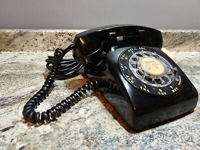 Vintage 1966 Western Electric 500 Black Rotary Phone Bell Systems & Transformer