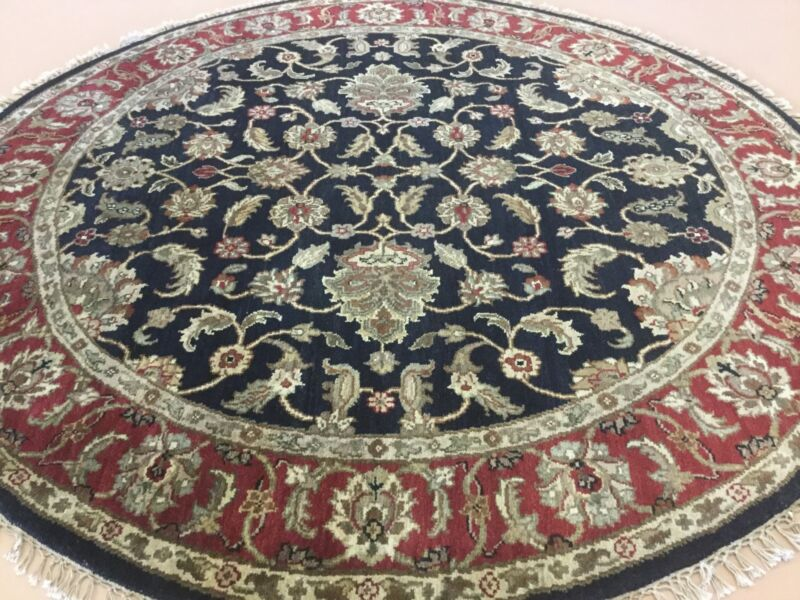 6x6 Round Black Red Agra Floral Persian Oriental Area Rug Hand Knotted Wool