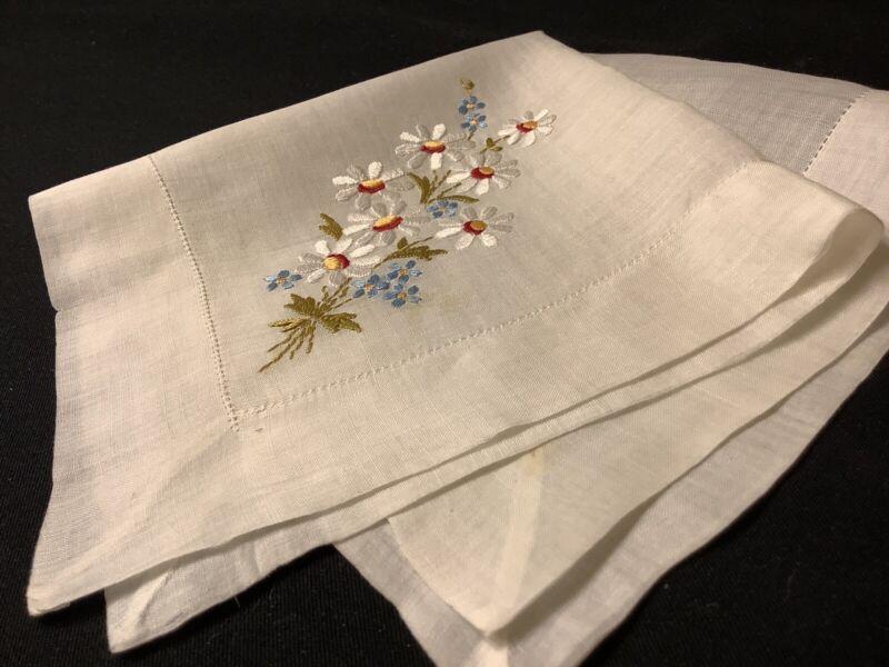 #6971🌟Antique c1800s CUTTER Silk DAISIES & FORGET-Me-NOTS Wedding Handkerchief