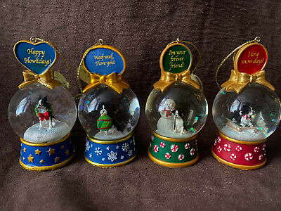 Danbury Mint Boston Terrier Christmas Snow Globe Decorations 16 Piece Lot W/Box