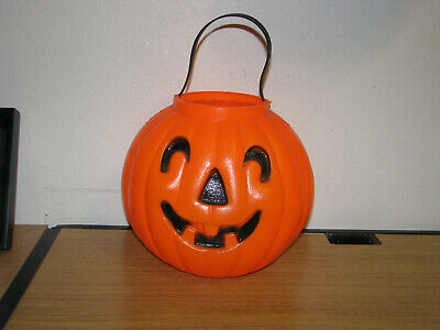Vintage Halloween Blow Mold Pumpkin Trick Or Treat Candy Pail Bucket