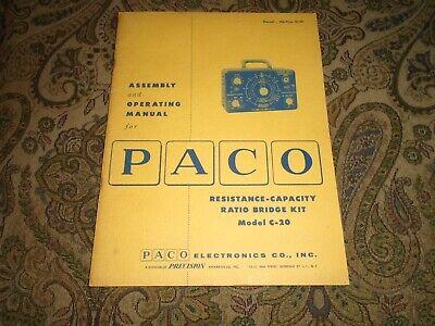 Paco C-20 Resistance Capacity Ratio Bridge Kit Assembly Operating Manual