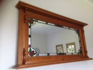 Large Wall Mirror - Timber and Stained Glass