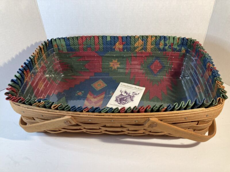 1993 Longaberger Medium Gathering Basket w Plastic Liner, Sunset Fabric Liner