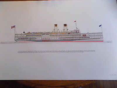 Frank R Crevier Lithograph, Steamer TASHMOO 1970  Never rolled or framed 22 x 34
