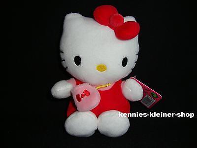 """Hello Kitty Plüsch """"Rot mit Tasche"""" 16 cm Stofftier-Figur Kittie Kitti Bean Bag"""