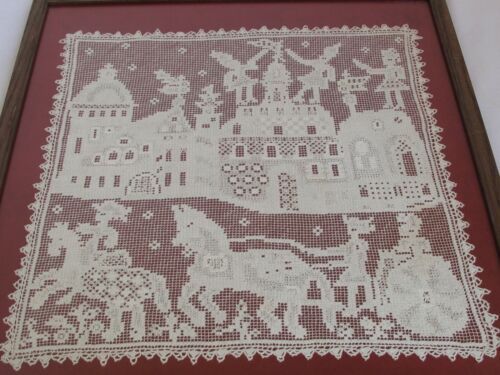 Antique Pictorial Hand Knotted Filet Lace Panel