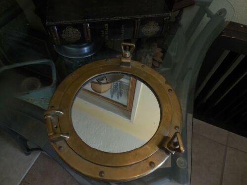 "Vintage all Brass Nautical Porthole with Mirror 11 3/4"" Diameter"