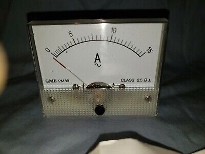 New Analog Panel Meter Ac 0-15 Amperes Gme Pm89 Class 2.5