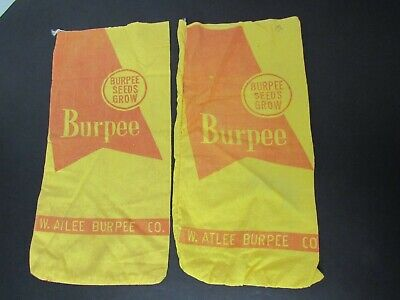 "Lot of 2 Burpee Seed Bags 14"" x 8"" - W. Atlee Burpee Co."