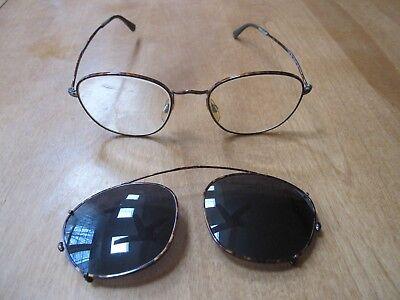31228dce9738 Vintage Giorgio Armani 169 808 Red Tortuga Eye Glasses With Sunglass Clip  EUC