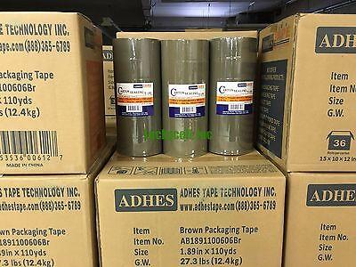 36 Rolls Premium Brown Carton Box Sealing Packing Tape 2.5 Mil Thick 2x110 Yard